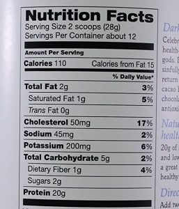 Teras Whey Nutrition Facts